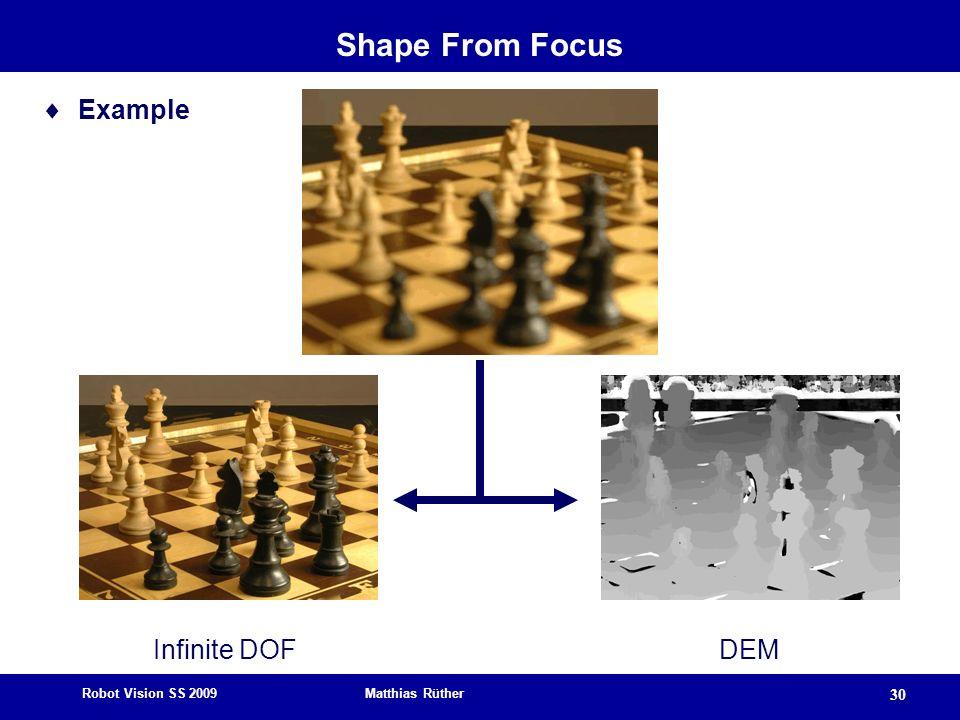 Shape From Focus Example Infinite DOF DEM