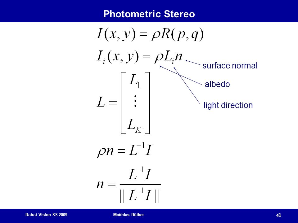 Photometric Stereo surface normal albedo light direction