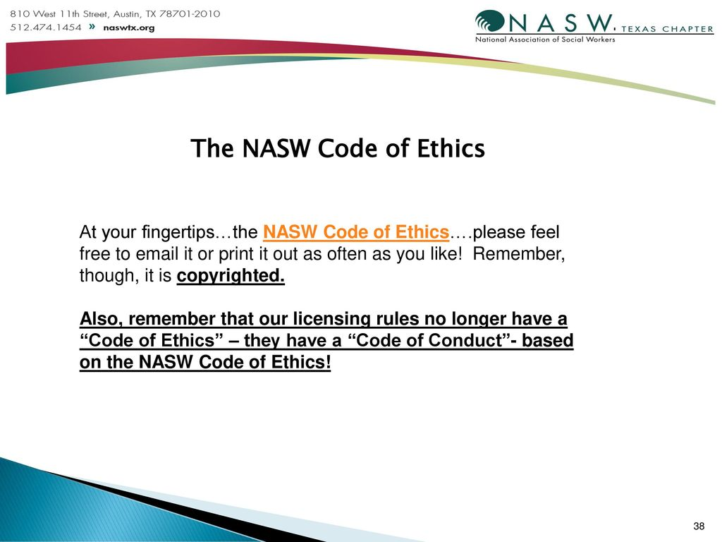 image relating to Nasw Code of Ethics Printable referred to as NASW/Texas Management Orientation! - ppt obtain