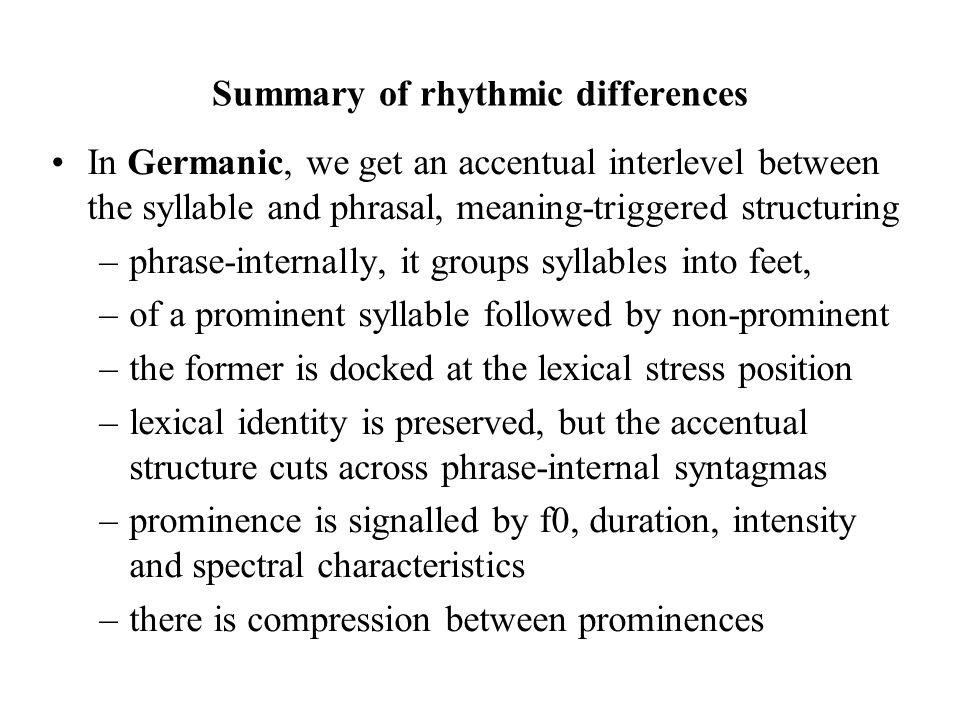 Summary of rhythmic differences
