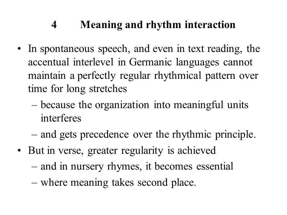 4 Meaning and rhythm interaction