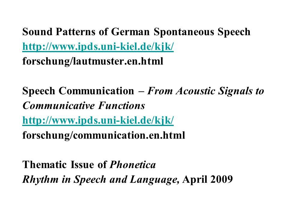 Sound Patterns of German Spontaneous Speech