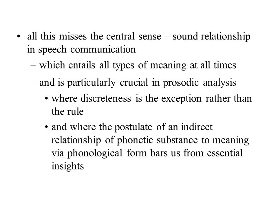 all this misses the central sense – sound relationship in speech communication