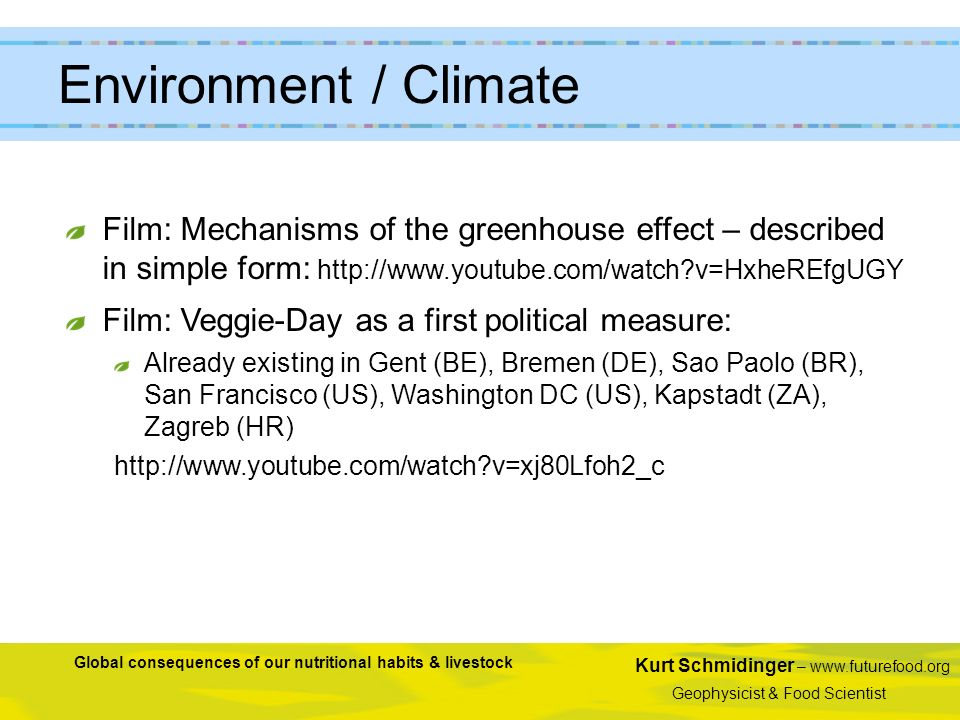 Environment / Climate Film: Mechanisms of the greenhouse effect – described in simple form: http://www.youtube.com/watch v=HxheREfgUGY.