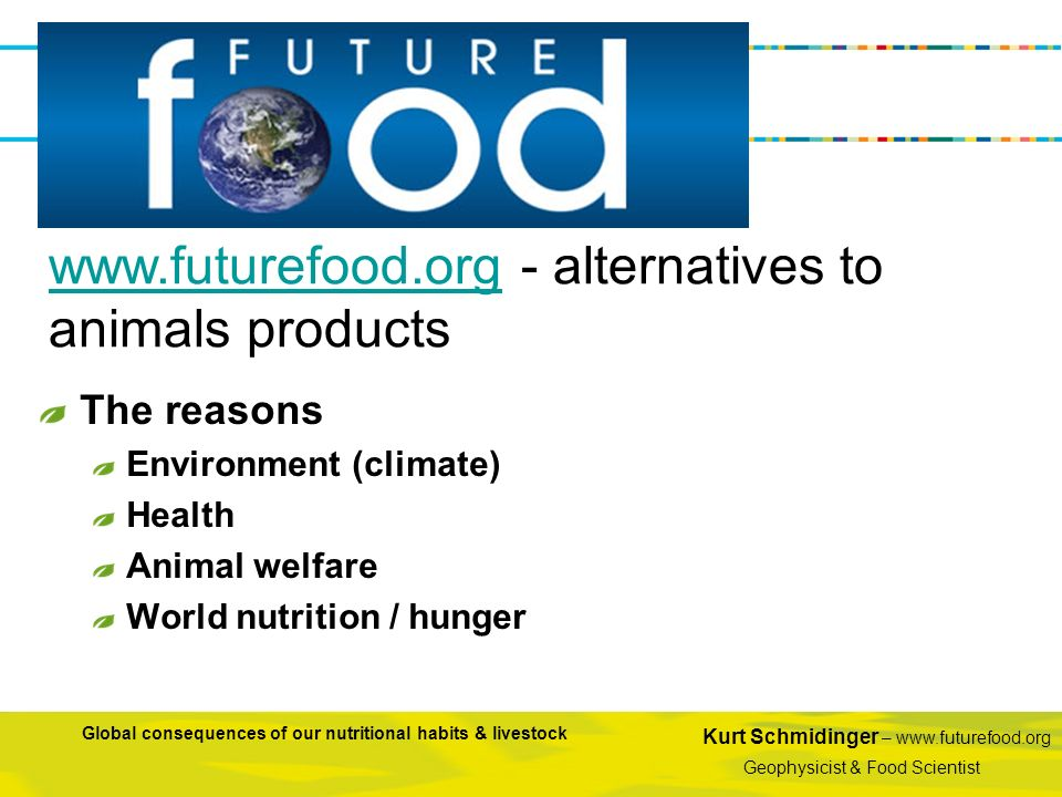 www.futurefood.org - alternatives to animals products
