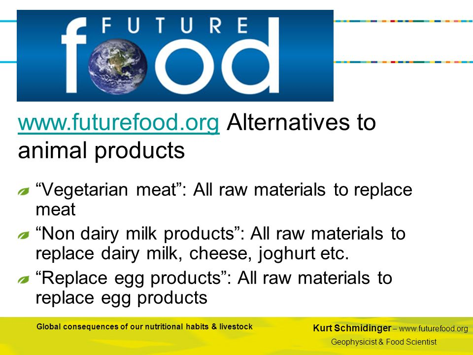 www.futurefood.org Alternatives to animal products