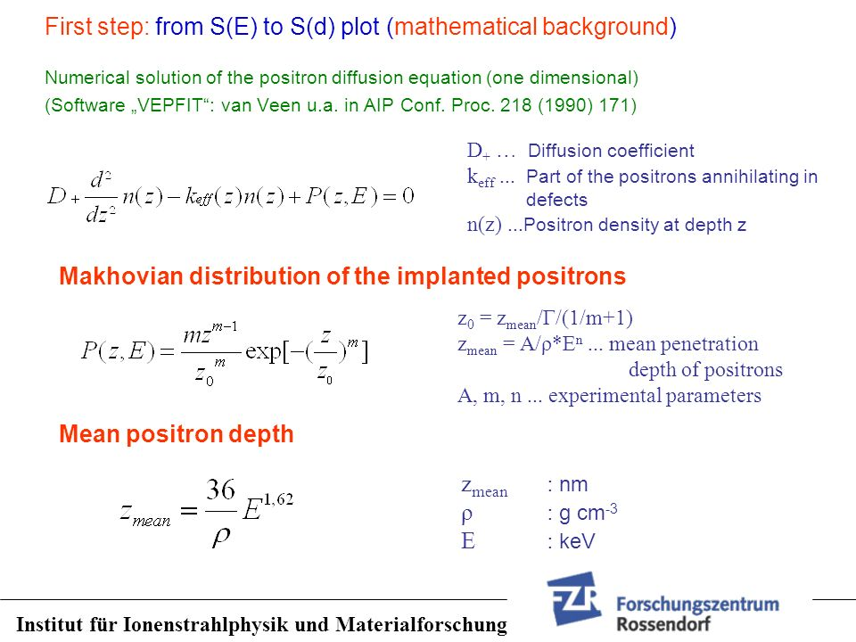First step: from S(E) to S(d) plot (mathematical background)
