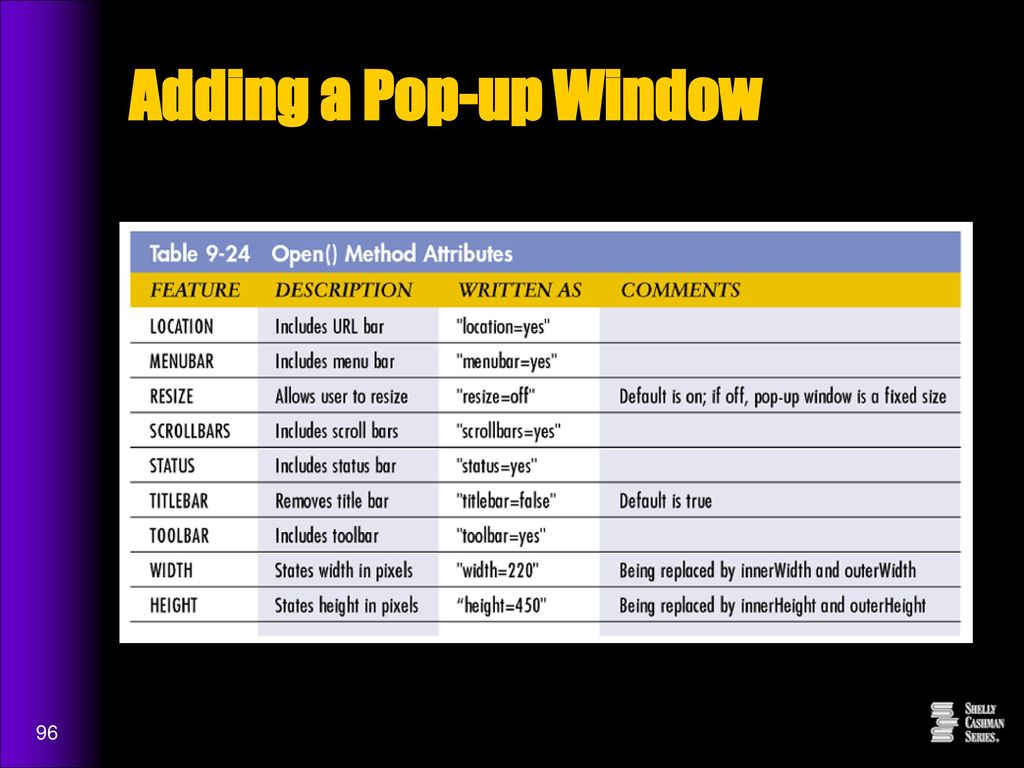 Project 9 Creating Pop-up Windows, Adding Scrolling Messages