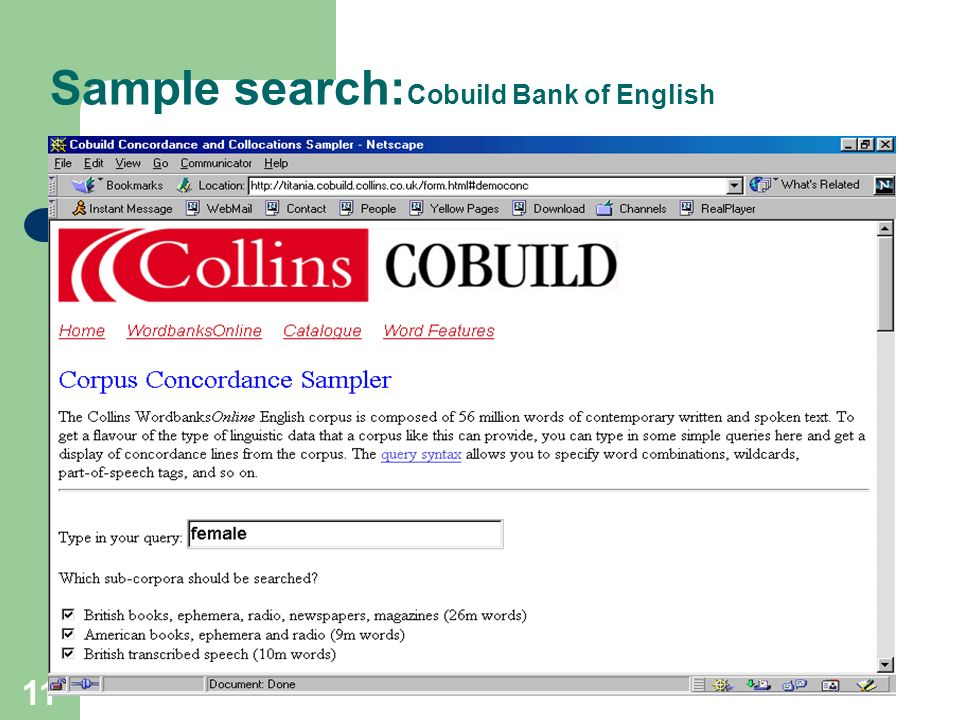 Sample search:Cobuild Bank of English