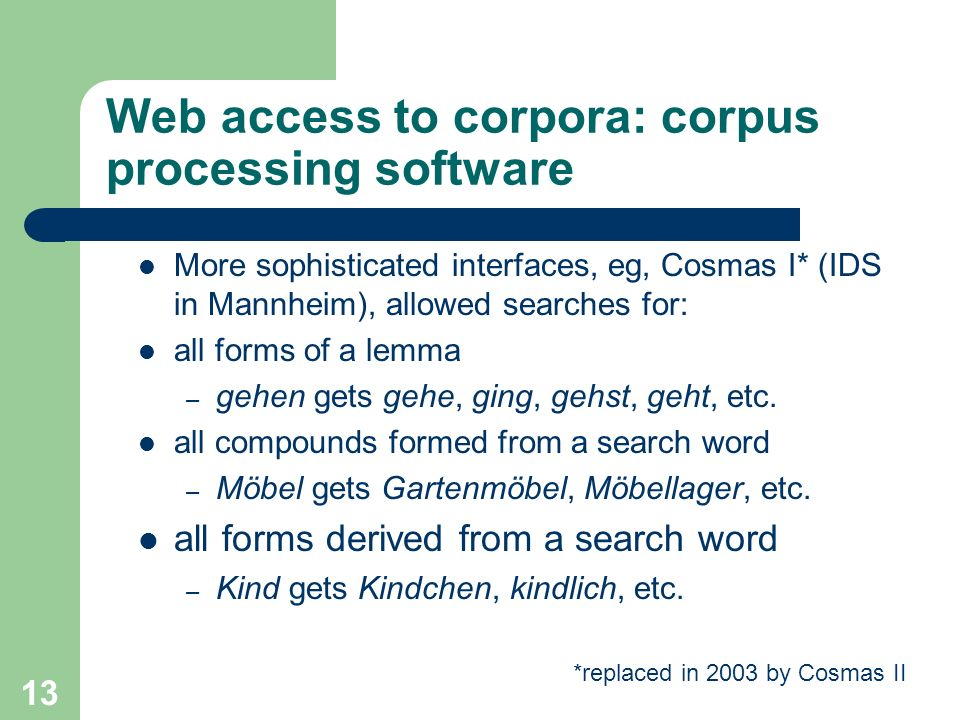 Web access to corpora: corpus processing software