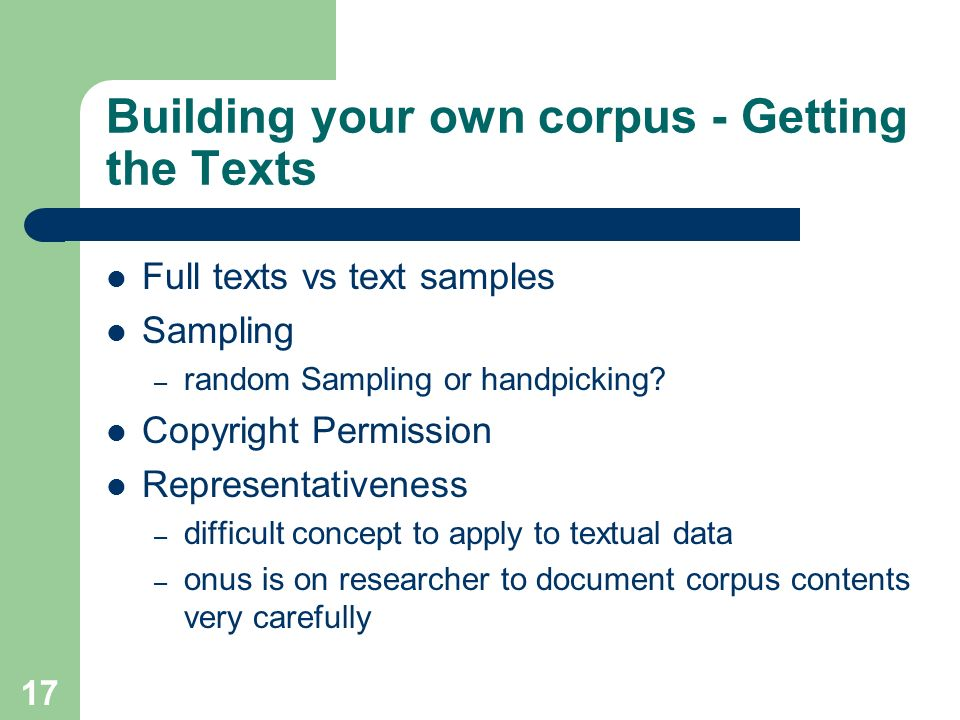 Building your own corpus - Getting the Texts