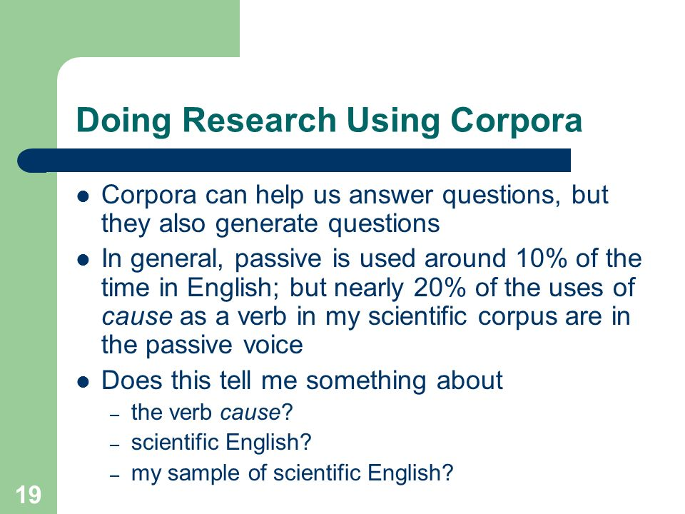 Doing Research Using Corpora