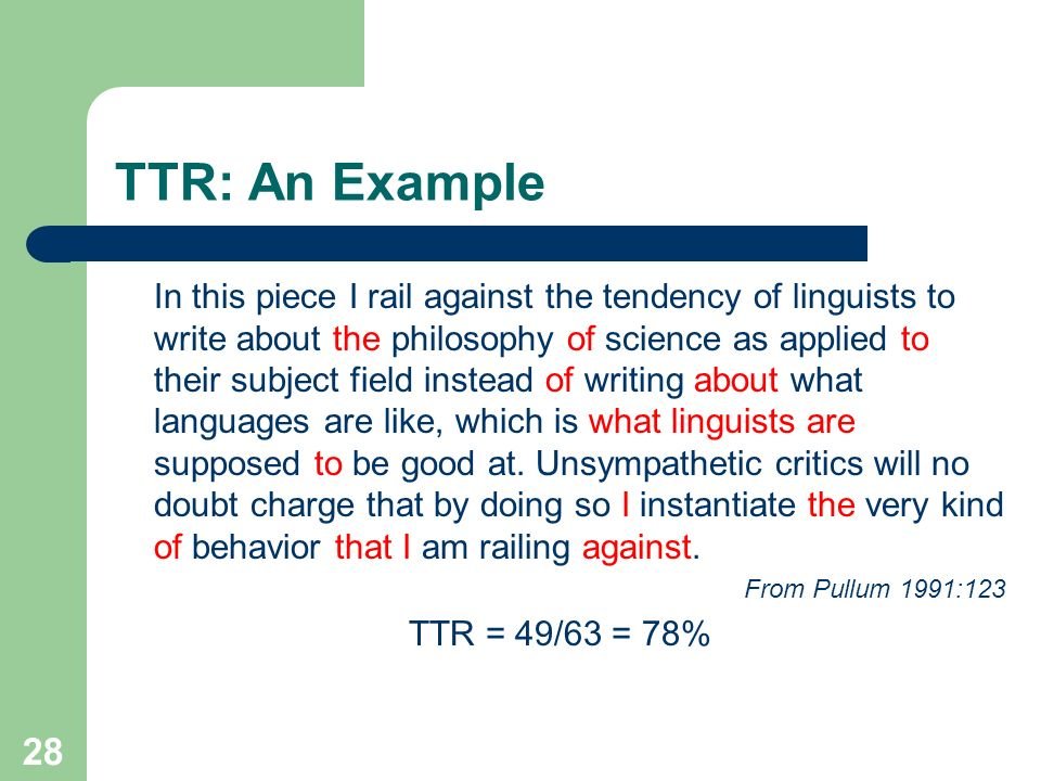 TTR: An Example