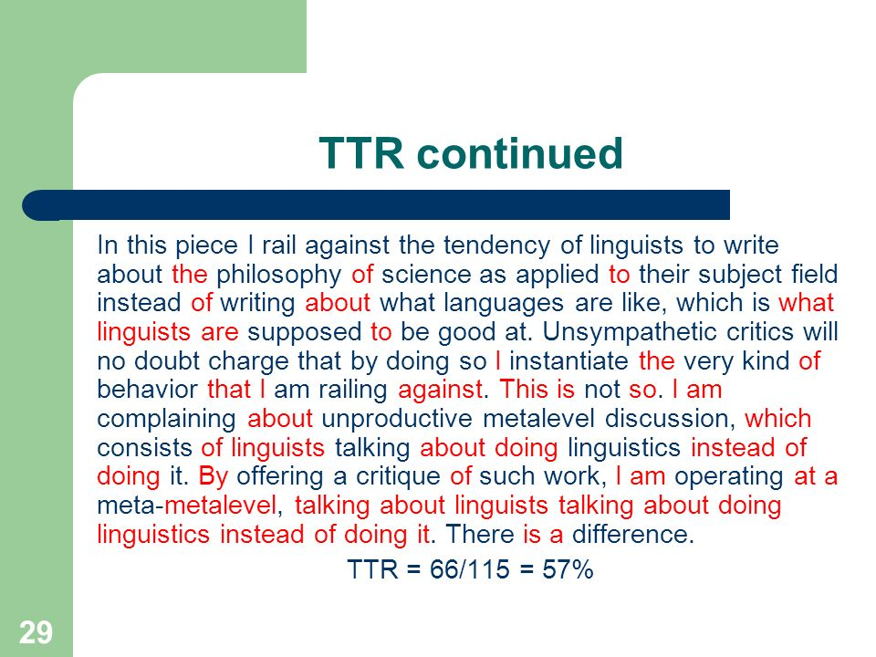 TTR continued