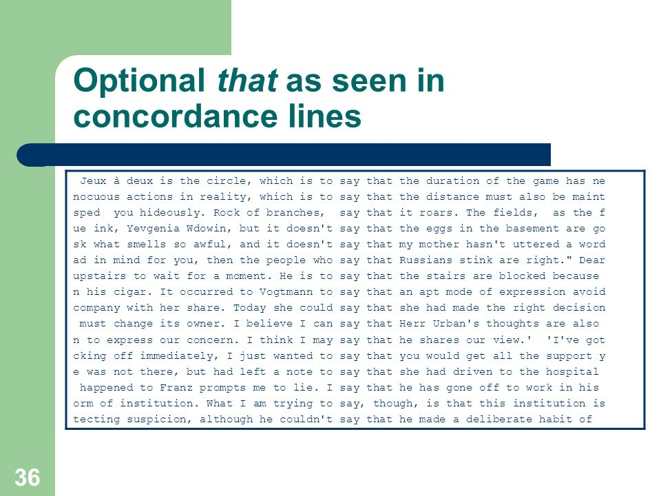 Optional that as seen in concordance lines