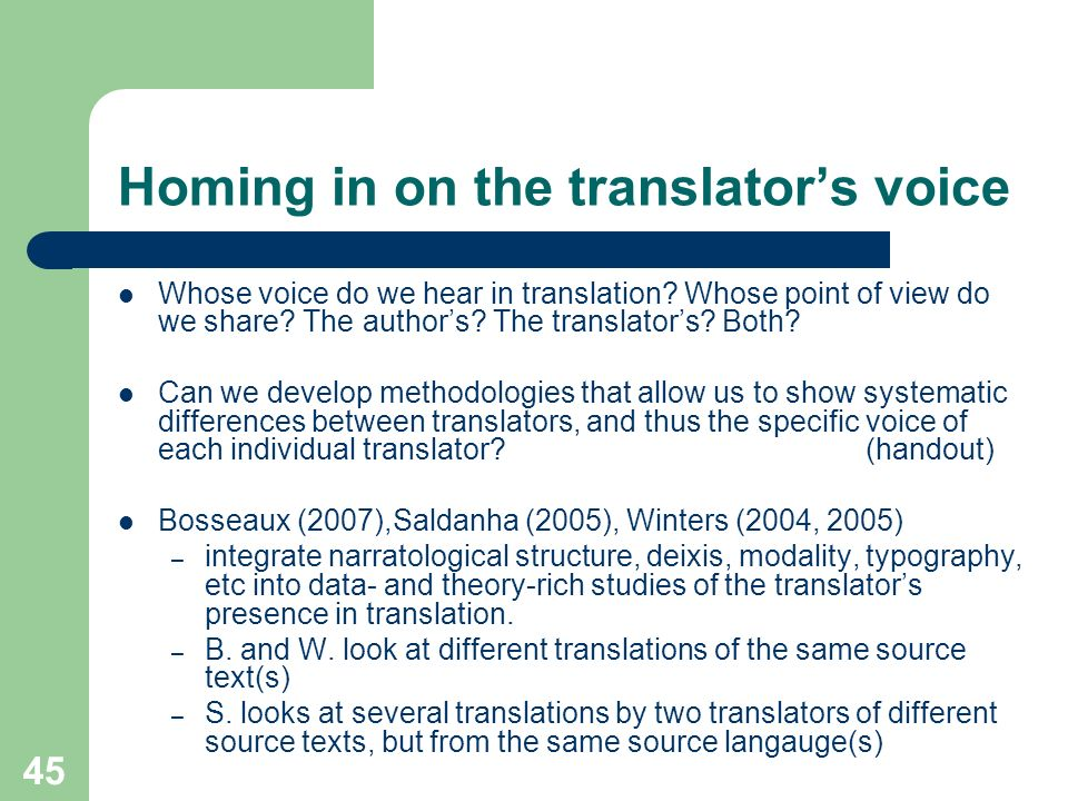 Homing in on the translator's voice