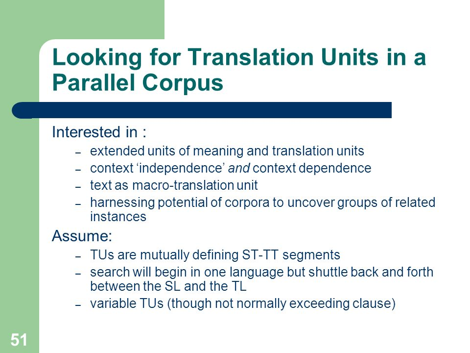 Looking for Translation Units in a Parallel Corpus