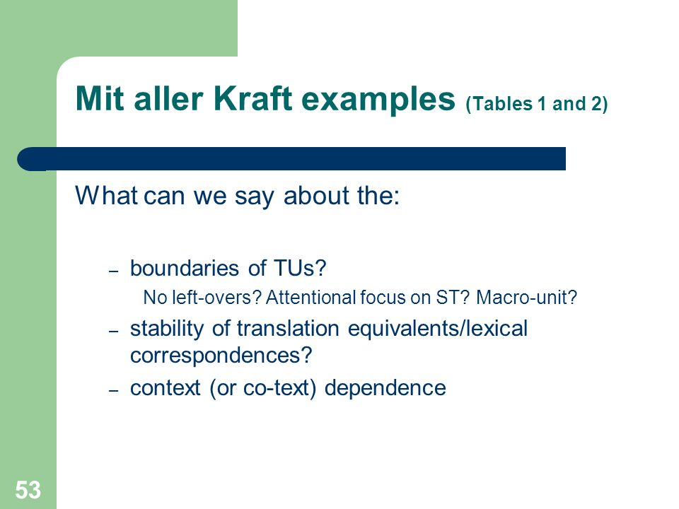 Mit aller Kraft examples (Tables 1 and 2)