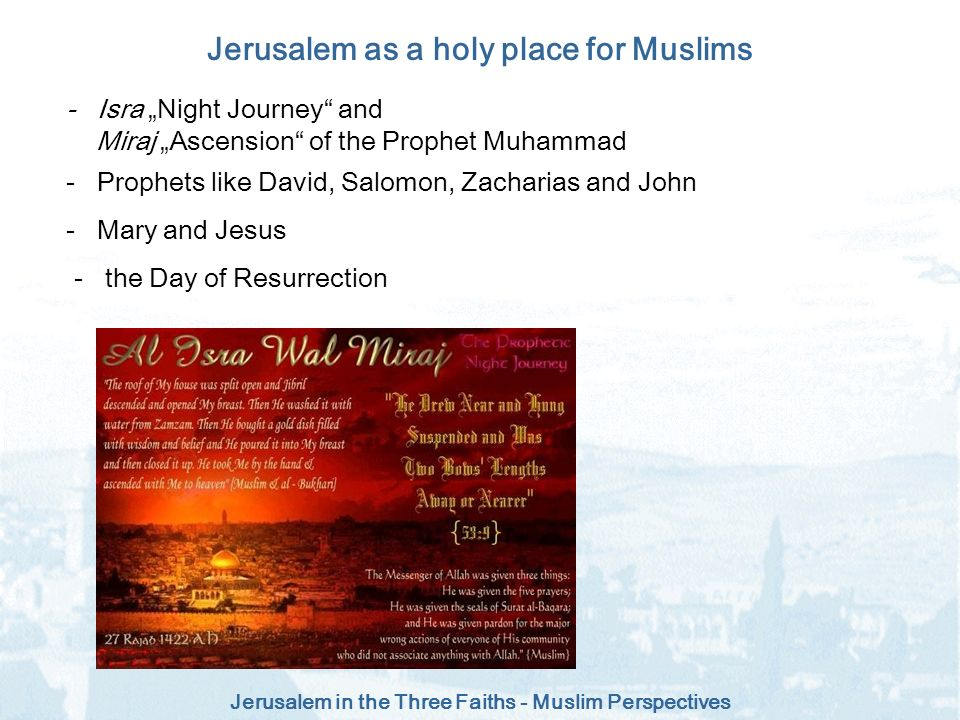 Jerusalem as a holy place for Muslims