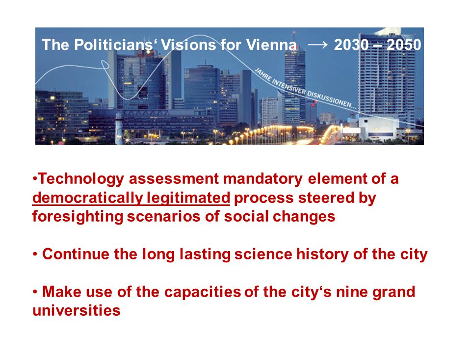 The Politicians' Visions for Vienna → 2030 – 2050