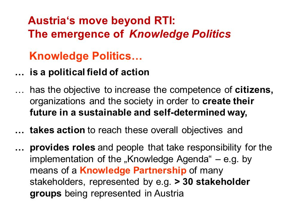 Austria's move beyond RTI: The emergence of Knowledge Politics