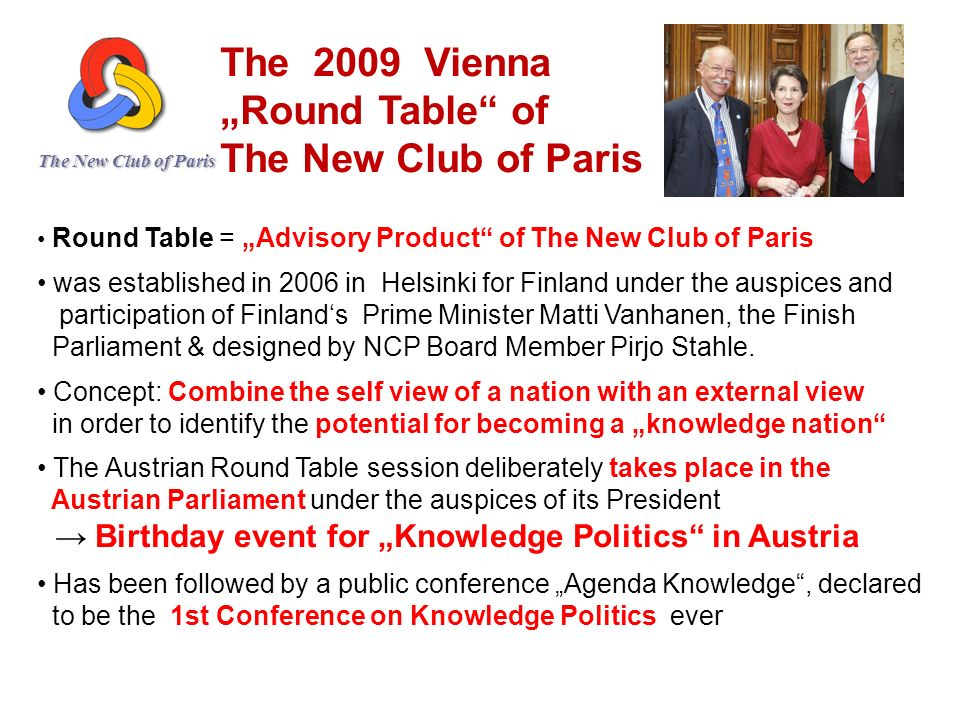 "The 2009 Vienna ""Round Table of The New Club of Paris"