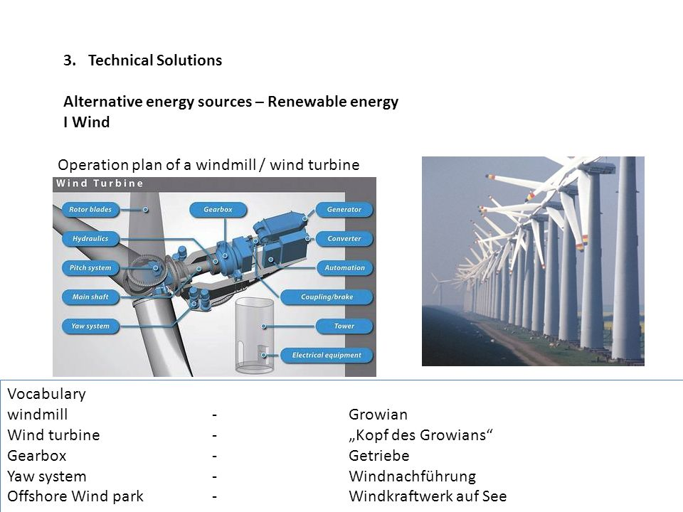 3. Technical Solutions Alternative energy sources – Renewable energy. I Wind. Operation plan of a windmill / wind turbine.