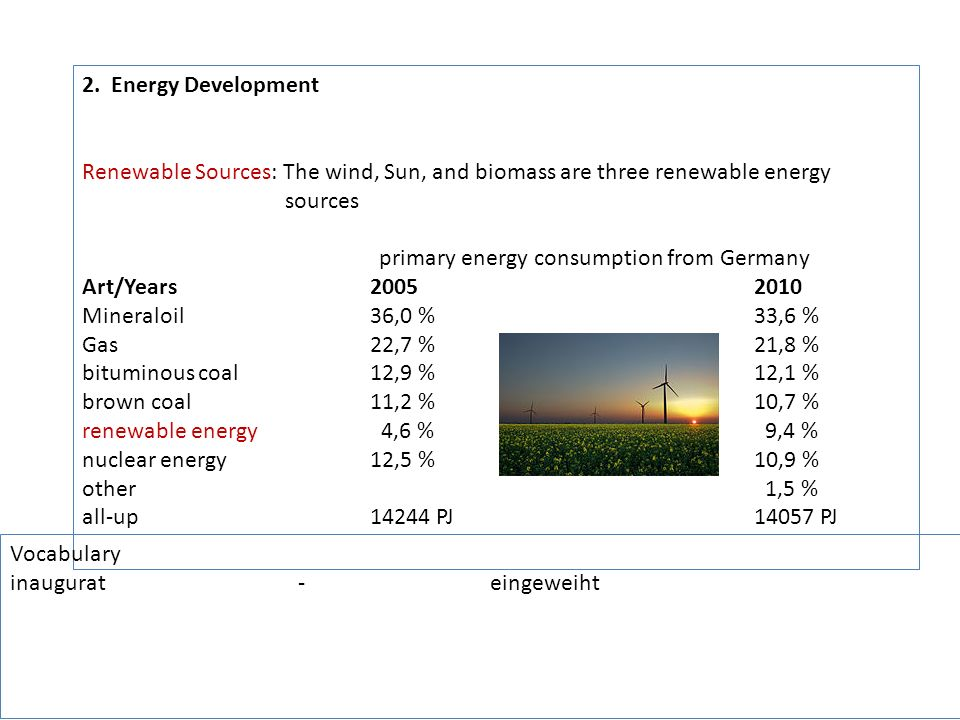 primary energy consumption from Germany