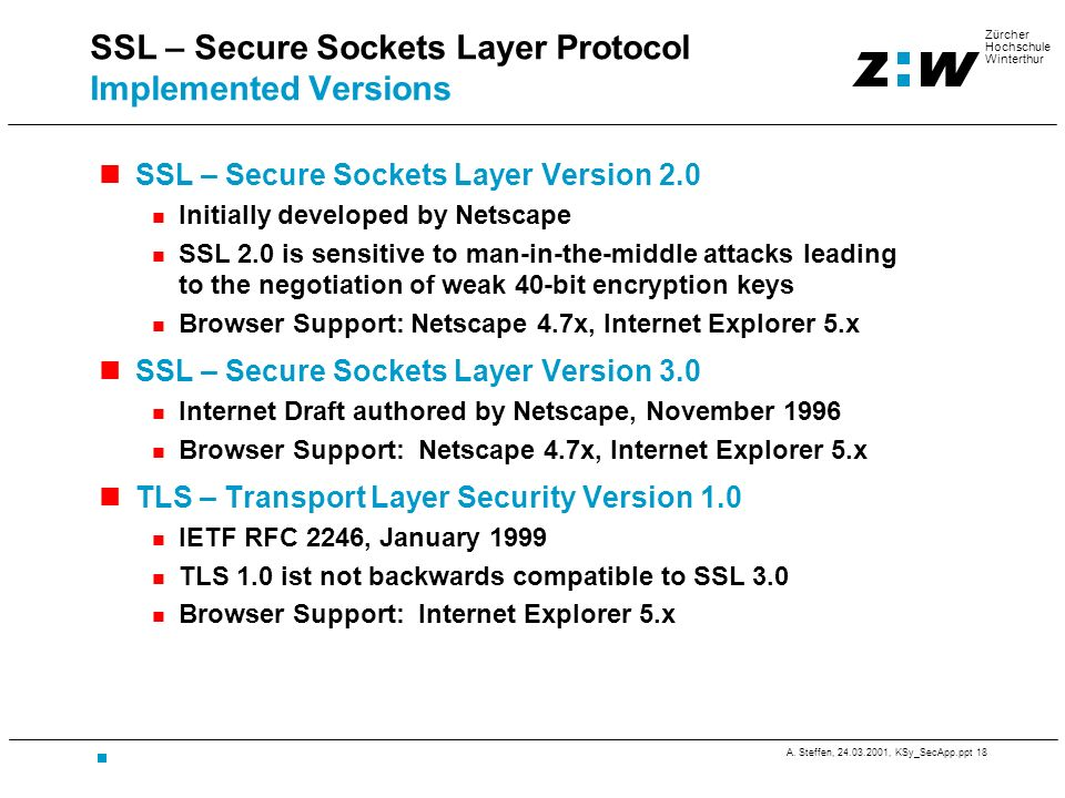 SSL – Secure Sockets Layer Protocol Implemented Versions