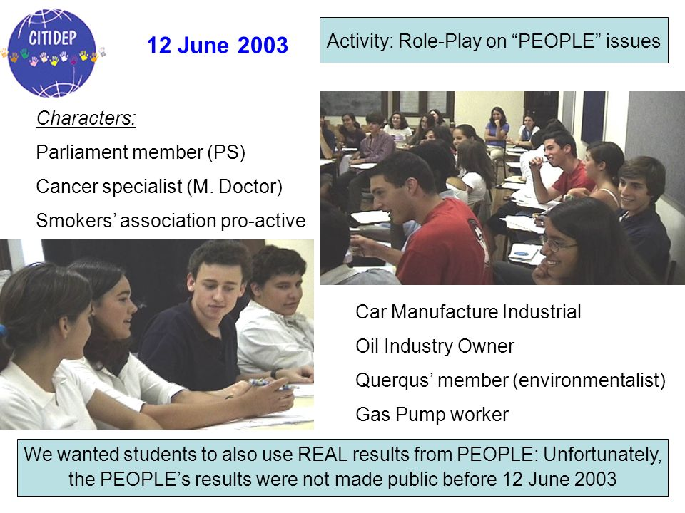 12 June 2003 Activity: Role-Play on PEOPLE issues Characters: