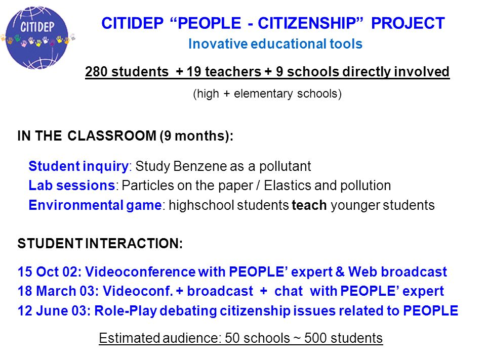 CITIDEP PEOPLE - CITIZENSHIP PROJECT Inovative educational tools