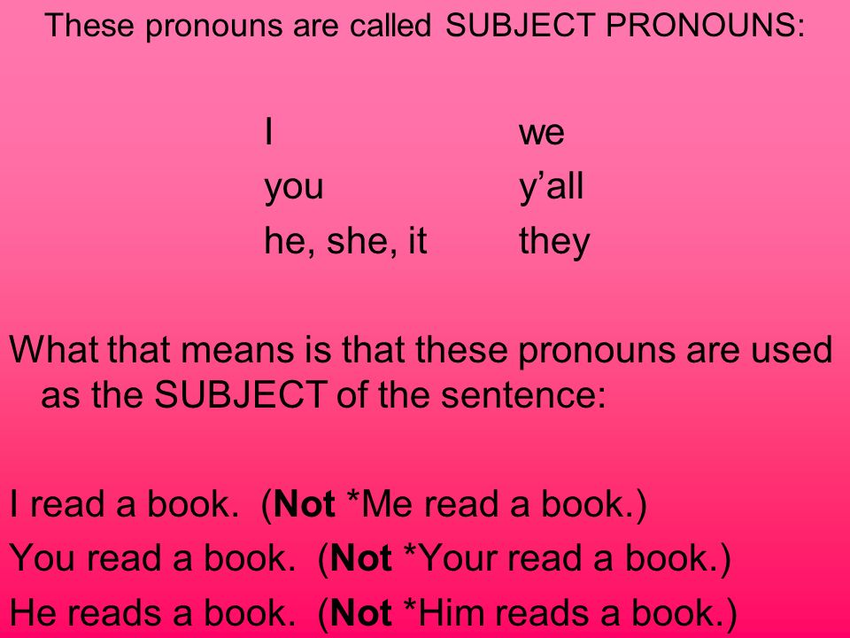 These pronouns are called SUBJECT PRONOUNS: