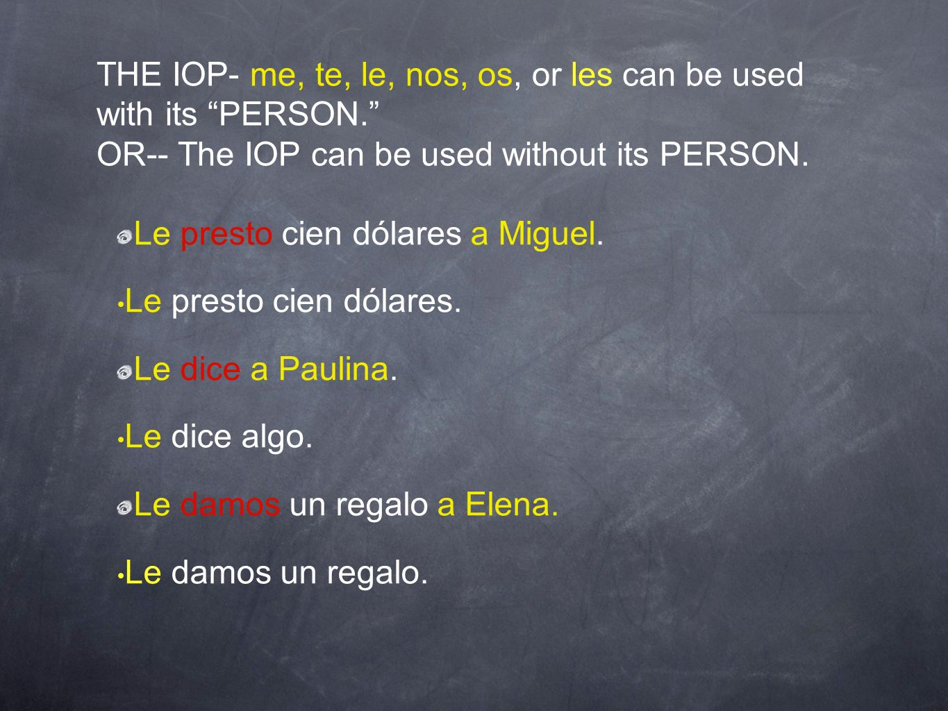 THE IOP- me, te, le, nos, os, or les can be used with its PERSON