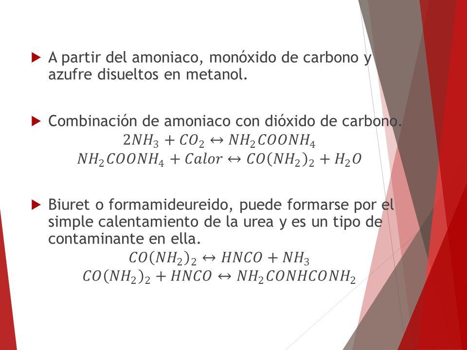 A partir del amoniaco, monóxido de carbono y azufre disueltos en metanol.