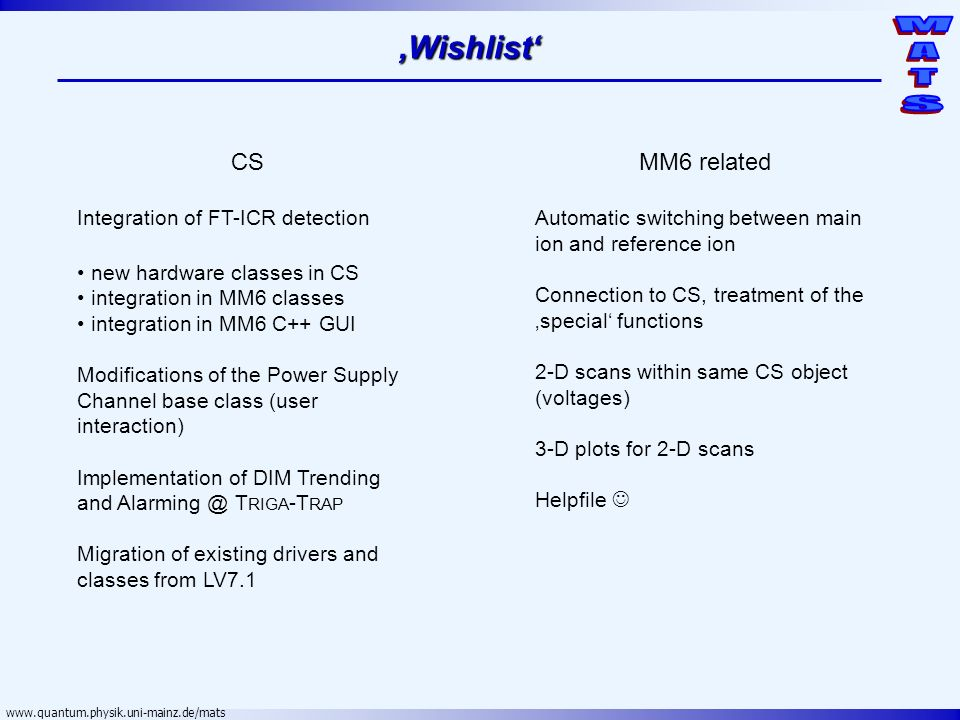 'Wishlist' CS MM6 related Integration of FT-ICR detection