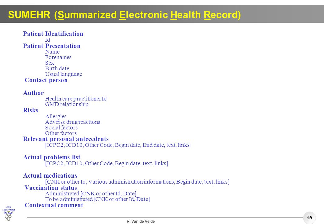 SUMEHR (Summarized Electronic Health Record)