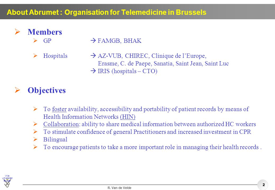 About Abrumet : Organisation for Telemedicine in Brussels