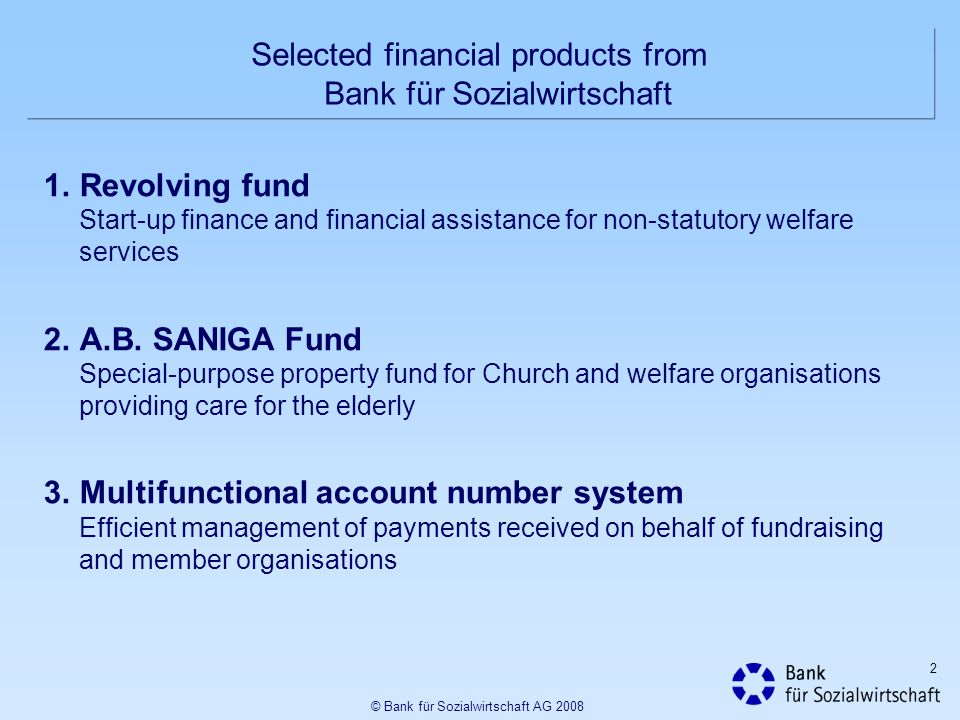 Selected financial products from Bank für Sozialwirtschaft