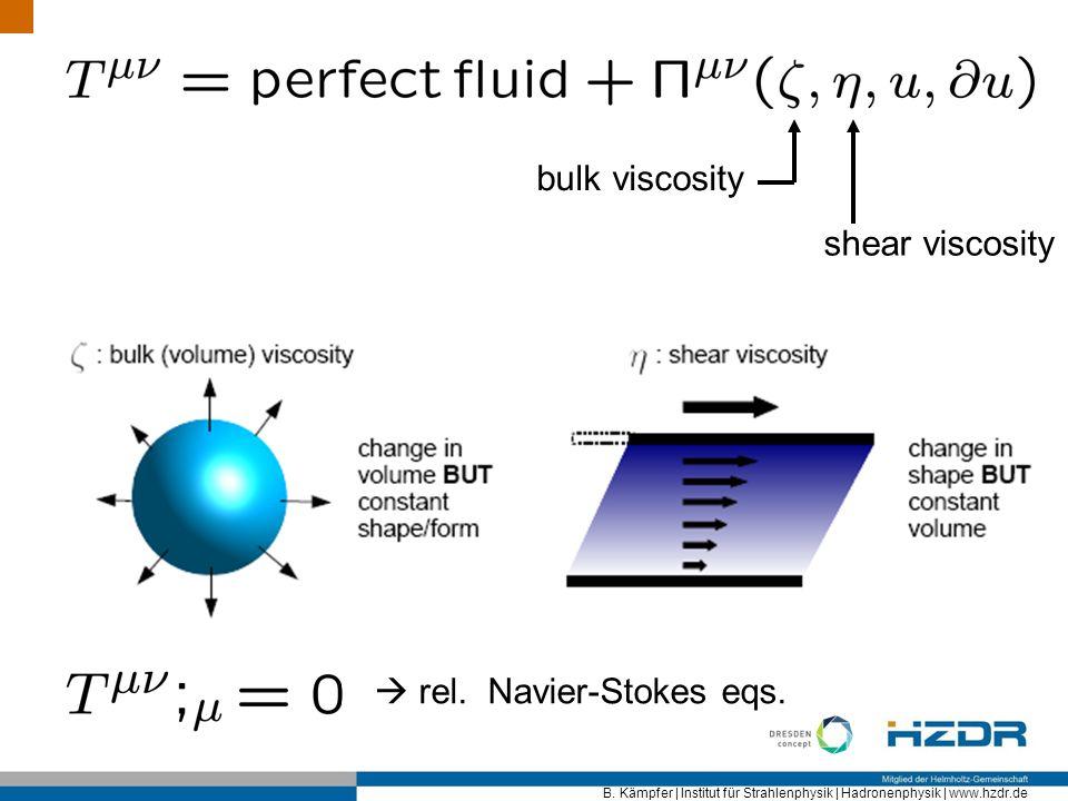 bulk viscosity shear viscosity  rel. Navier-Stokes eqs.