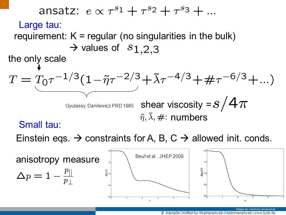 requirement: K = regular (no singularities in the bulk)  values of