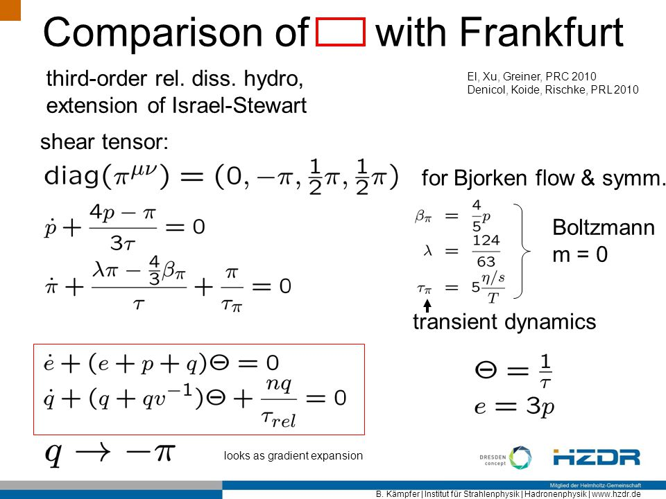 Comparison of with Frankfurt
