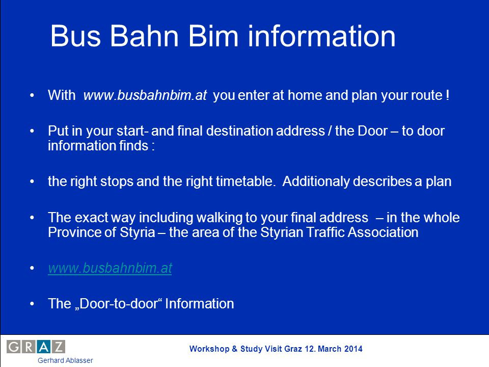 Bus Bahn Bim information