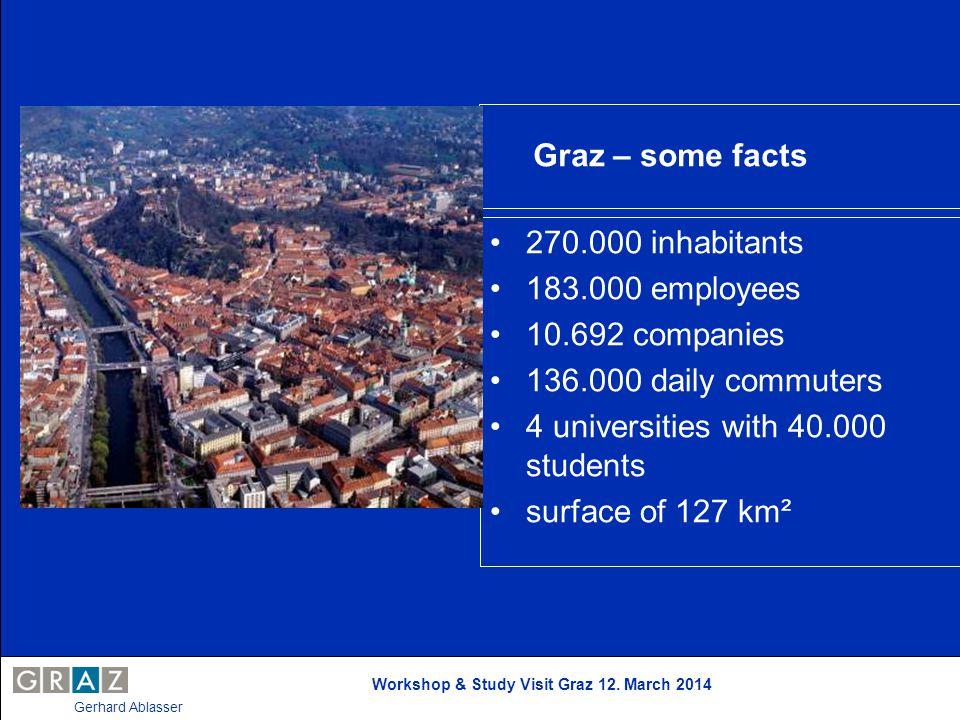 Graz – some facts 270.000 inhabitants 183.000 employees