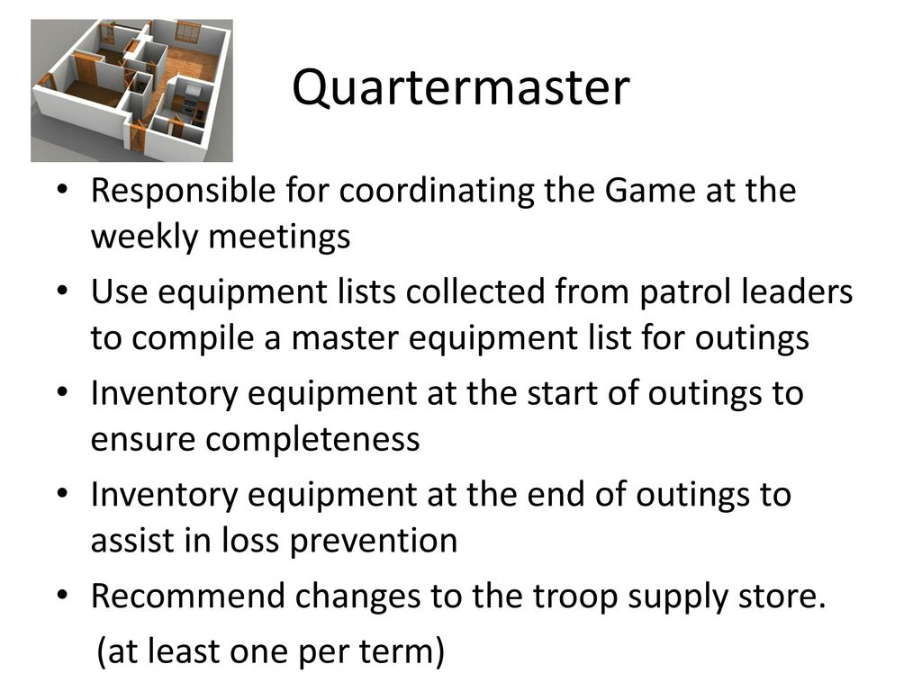 Quartermaster Responsible for coordinating the Game at the weekly meetings.