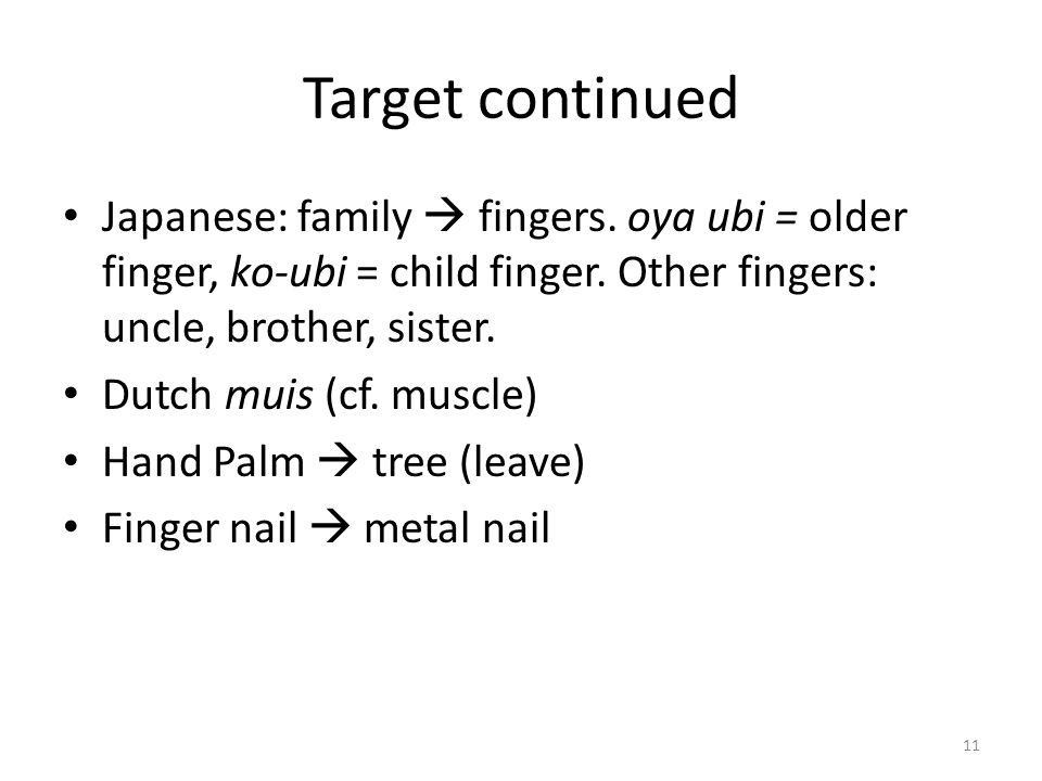 Target continued Japanese: family  fingers. oya ubi = older finger, ko-ubi = child finger. Other fingers: uncle, brother, sister.