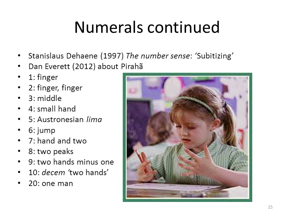 Numerals continued Stanislaus Dehaene (1997) The number sense: 'Subitizing' Dan Everett (2012) about Pirahã.