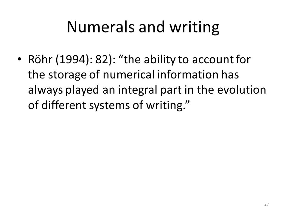 Numerals and writing