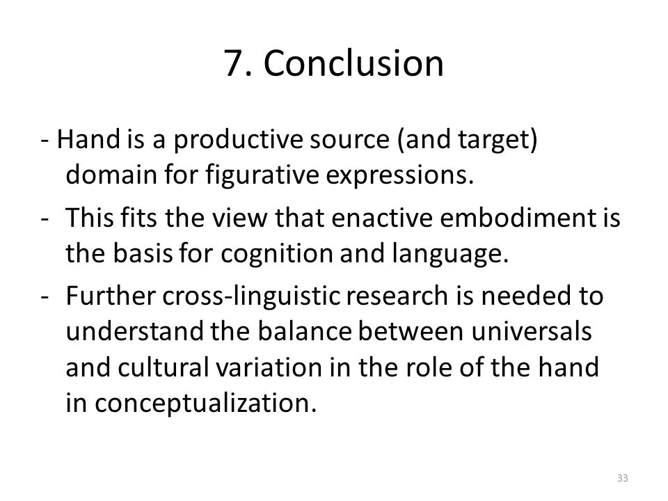 7. Conclusion - Hand is a productive source (and target) domain for figurative expressions.