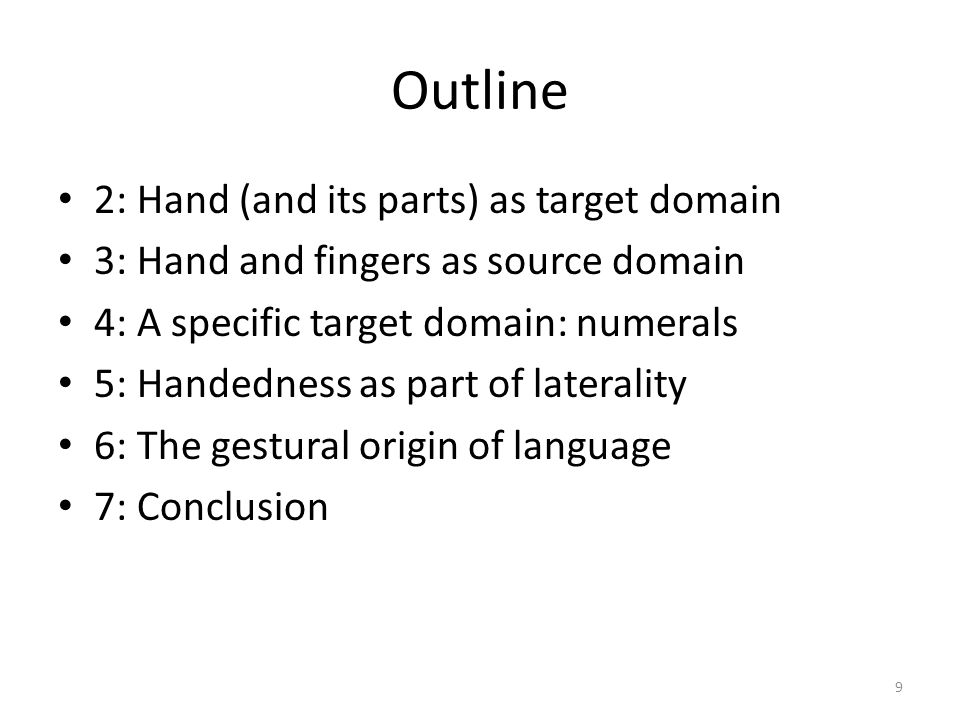 Outline 2: Hand (and its parts) as target domain