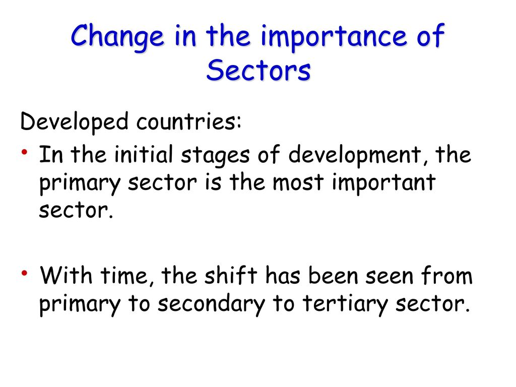 Change in the importance of Sectors